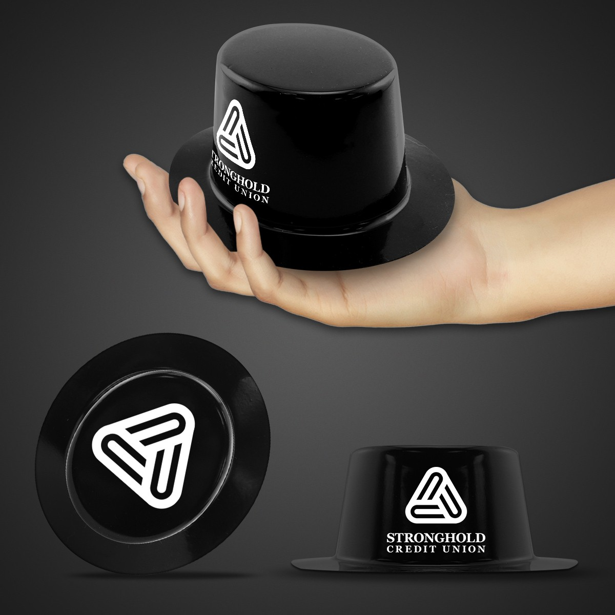 Mini Black Plastic Top Hat
