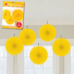 Yellow Mini Hanging Spray Fan Decorations