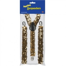 Gold Sequin Suspenders