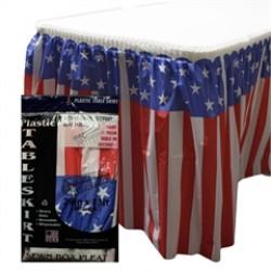 Patriotic Flag Plastic Table Skirt
