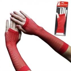 Red Fishnet Fingerless Gloves