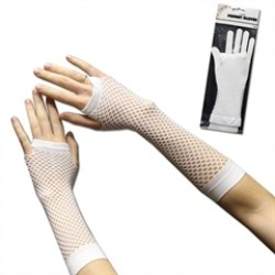 White Fishnet  Fingerless Gloves