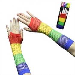 Rainbow Fishnet  Fingerless Gloves