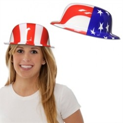 American Flag Plastic Derby Hats - 12 Pack