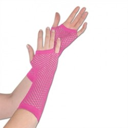 Pink Fishnet Gloves