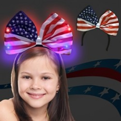 USA Flag Bow Light Up Headband