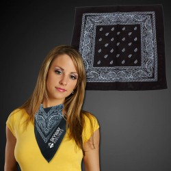 "Black 22"" x 22"" Cotton Paisley Bandanas"