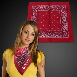 "Red 22"" x 22"" Cotton Paisley Bandanas"