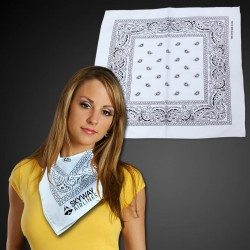 "White 22"" x 22"" Cotton Paisley Bandanas"
