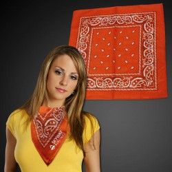 "Orange 22"" x 22"" Cotton Paisley Bandanas"