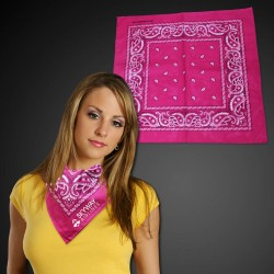 "Hot Pink 22"" x 22"" Cotton Paisley Bandanas"