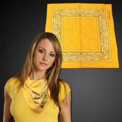 "Yellow  22"" x 22"" Cotton Paisley Bandanas"