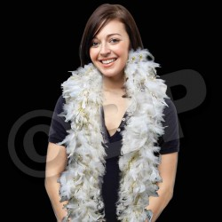 White with Gold Tinsel Feather Boa