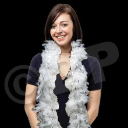 White with Silver Tinsel Feather Boa