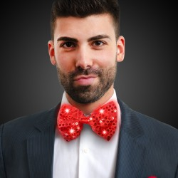 Red Sequin Light Up Bowtie