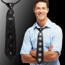 Black Sequin LED Neckties - 14""