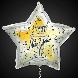 Happy New Year Metallic Star Balloon - 18 Inch