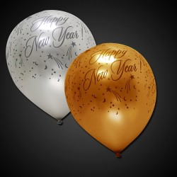 Silver and Gold Happy New Year Balloons - 12 Inch, 50 Pack