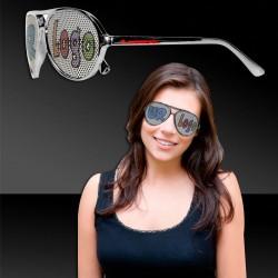 Silver Metallic Aviator Billboard Sunglasses