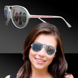 White Aviator Billboard Sunglasses