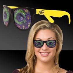 Neon Yellow Mardi Gras Eyes Billboard Sunglasses