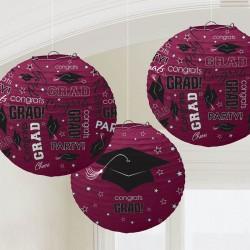 Maroon Congrats Grad Paper Lanterns