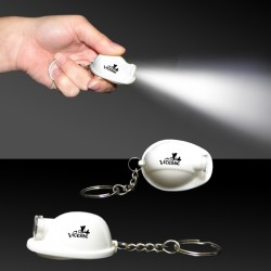 "2"" White Safety Helmet Flashlight Keychain"