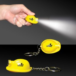 "2"" Yellow Safety Helmet Flashlight Keychain"