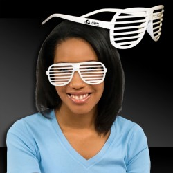 White Slotted Shutter Shade Eyeglasses