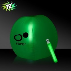 12 Inch Inflatable Beach Balls with 1 - 6 Inch GREEN Glow Stick