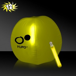 12 Inch Inflatable Beach Balls with 1 - 6 Inch YELLOW Glow Stick