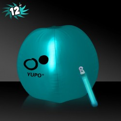 12 Inch Inflatable Beach Balls with 1 - 6 Inch AQUA Glow Stick