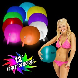 12 Inch Inflatable Beach Balls with 1 - 6 Inch Glow Stick