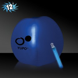 12 Inch Inflatable Beach Balls with 1 - 6 Inch BLUE Glow Stick