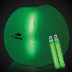 24 Inch Inflatable Beach Ball with 2 - 6 Inch GREEN Glow Sticks