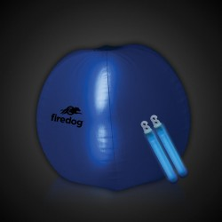 24 Inch Inflatable Beach Ball with 2 - 6 Inch BLUE Glow Sticks