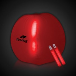 24 Inch Inflatable Beach Ball with 2 - 6 Inch RED Glow Sticks