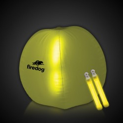 24 Inch Inflatable Beach Ball with 2 - 6 Inch YELLOW Glow Sticks