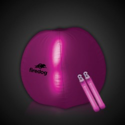 24 Inch Inflatable Beach Ball with 2 - 6 Inch PINK Glow Sticks