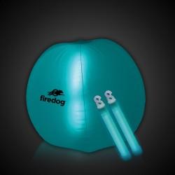 24 Inch Inflatable Beach Ball with 2 - 6 Inch AQUA Glow Sticks