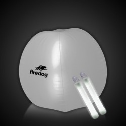 24 Inch Inflatable Beach Ball with 2 - 6 Inch WHITE Glow Sticks