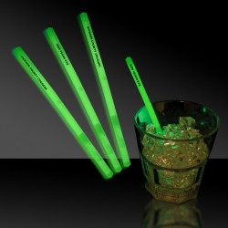 "Green 5"" Glow Swizzle Sticks/Drink Stirrers"