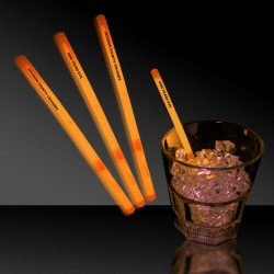 "Orange 5"" Glow Swizzle Sticks/Drink Stirrers"