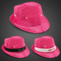Neon Pink Sequin LED Fedora (Imprintable Bands Available)
