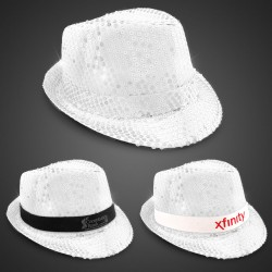 White Sequin LED Fedora Hats (Imprintable Bands Available)