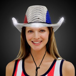 Patriotic LED Sequin Cowboy Hat