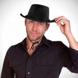 Black Plastic Velour Cowboy Hat