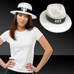 White Plastic Fedora with Black Band