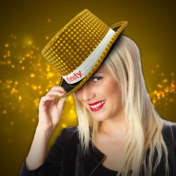 Gold Sequin Top Hats (Imprintable Bands Available)