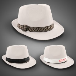 White Funky Fedora (Imprintable Bands Available)